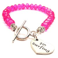 I Love SurfingクリスタルToggle Bracelet Inホットピンク