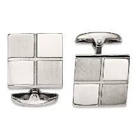ChiselステンレススチールBrushed and Polished Square Cuff Links