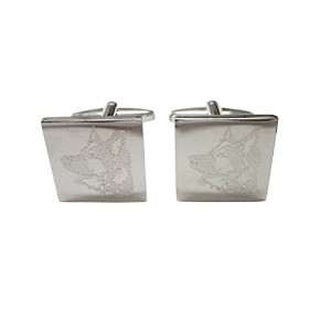 Silver Toned Etched Side Facing Dog Head Cufflinks