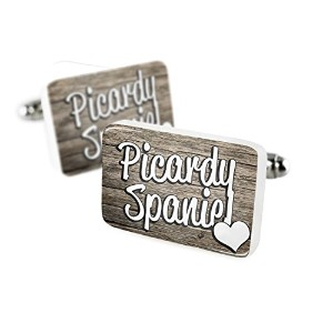 Cufflinks Picardy Spaniel , dog breedフランス磁器セラミックNEONBLOND