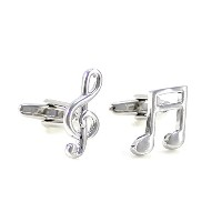 mendepotト音記号とBanded Beamed Music Note Cufflinks with Gift Box