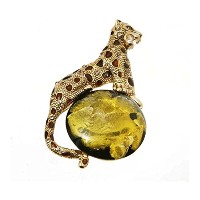 """' Spotted Mythical Panther ' Simulated Goldenジャスパー動物ブローチ、パンサーピンwith Circusボール、1.5"""" X 3"""""""