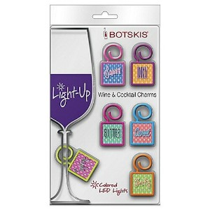 BOTSKIS LIGHT-UP WINE AND COCKTAIL WORD CHARMS/ ライトアップグラスチャーム 文字柄 6個セット(LEDライト内蔵)