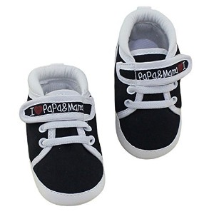 Aivtalk Infant Toddler Baby Boys Girls Canvas Soft Sole Moccasins Prewalker Crib Shoes - Black 13cm...