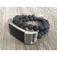 Volcanic Lava Stones Bracelet for Fitbit Charge 2 Fitness Activity Tracker Black Natural Beads...