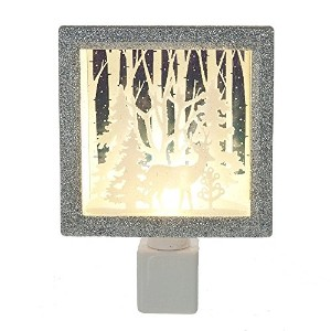 Reindeer in Forest Shadowボックスシルエットwith Trees Holiday Night Light – Gift Boxed