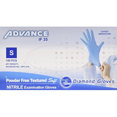 Nitrile Examination Powder Free Gloves (Medical), Blue,Box of 100 (Latex Free) (CE, FDA) (Maximum Protection) S by Diamond Gloves