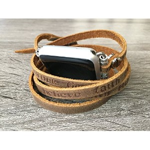 Artisan Brown Leather Bracelet For Apple Watch Series 1 2 & 3 (42mm Size) Handmade Multi Wrap Band...