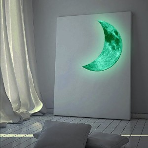 Amaonm Hot Fashion Glow in the Dark Green Crescent Moon Wall Decals Luminous Light Moon Wall...