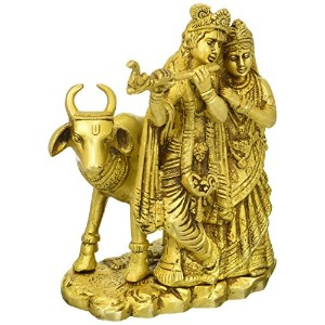 Radha Krishna with Cow – 真鍮Statue