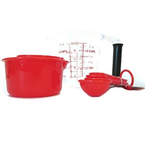 プラスチック液体Measuring Cup – Red 4 Piece Dry Measuring Cups – Red 4 Piece Measuring Spoons – Set of 3...