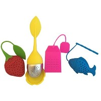 Playful Tea Infusers - set of 4 assorted FUN cute Silicone Stainless Steel Strainer Set for FUN tea...