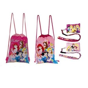 ディズニープリンセスDrawstring Backpacks and Lanyards 4 Pack