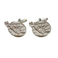 Silver Toned Statue of Liberty Cufflinks
