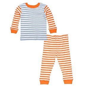 Under the Nile Kids Long Johns - Orange/Grey Stripe - 4 Years by Under the Nile