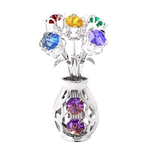 Chrome Silver Plated 5 Flowers in Vase Free Standing with Mixed Swarovski Element Crystals by Mascot