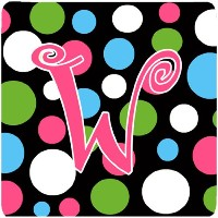 "Caroline 's Treasures cj1038-wfc monogram-polkadots andピンクFoam Coasters ( Set of 4 )、初期文字W、3.5 "" H..."