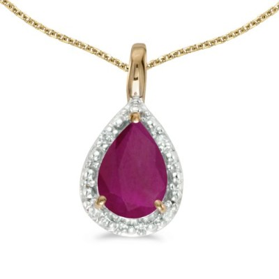 """14 Kイエローゴールド梨Ruby Pendant with 18 """"チェーン"""
