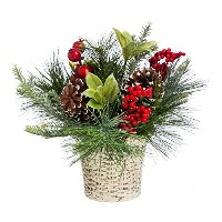 CypressホームHolly and Pinecone Tabletop Floral Decor