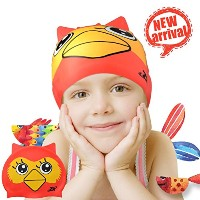 Swimキャップ、ZIONORシリコン水泳キャップfor Youth Kids with Cute Animal Cartoon Elastic Designed非毒性、allergy-free防水...