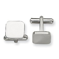 DesignerメンズのステンレススチールEngraveable Polished Cuff Links by Chisel