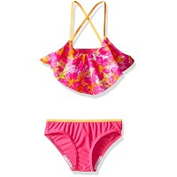 Speedo Girls Jungle Floral Ruffle Two Pieceビキニセット ピンク