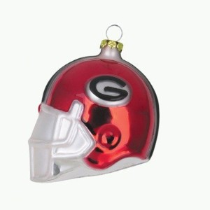 "Georgia Bulldogs 3 "" FOOTBALL HELMETガラスオーナメント"