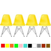 【Hilax】 Eames イームズチェア リプロダクト 4脚セット (イエロー/スチール)