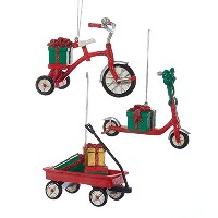 Childs ToysレッドTricycle Scooter and WagonクリスマスHoliday Ornamentsセットof 3