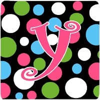 "Caroline 's Treasures cj1038-yfc monogram-polkadots andピンクFoam Coasters ( Set of 4 )、文字Y初期、3.5 "" H..."