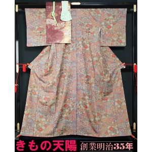 【72★S】着物4点セット 小紋・名古屋帯・帯揚げ〆 百花御所解模様 正絹 着物 ★送料無料【中古】【 リサイクル 小紋 リサイクル小紋 】【リサイクル着物 中古品 着物 帯 きもの 正絹...