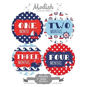 12 Monthly Baby Stickers, Nautical, Navy, Blue, Red, Boy, Girl, Gender Neutral, Baby Belly Stickers...
