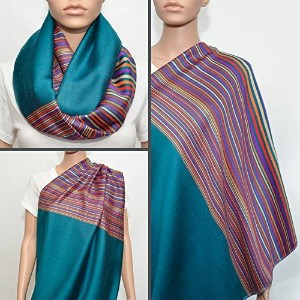 Teal Nursing Cover with Colorful Striped Pattern, Nursing Cover Scarf, Breastfeeding Cover, Nursing...