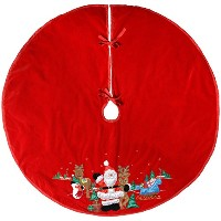 WeRChristmas 100 cm Christmas Tree Skirt Decoration with Santa Design, Red by WeRChristmas