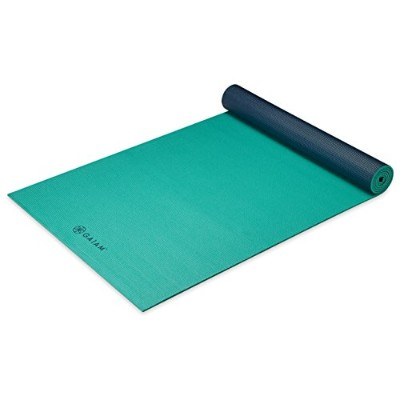 (68-Inch x 24-Inch x 5mm, Vibrant Viridian) - Gaiam Solid Colour Yoga Mat, Non Slip Exercise &...