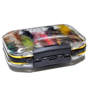 Double Side Waterproof Pocketed Fly Box Packed with 100 Assorted Dry Flies Fishing Package [並行輸入品]