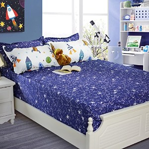 Brandream Boys Galaxy Space寝具セット子供用寝具セット布団カバーフルクイーンサイズ Full fitted sheet 1pc
