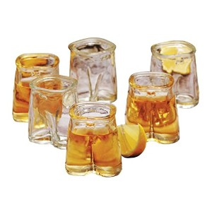 Eddingtons Set Of 6 ,1.5oz Glass Shot Glasses, Pants Up / Trousers Design -