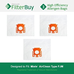 3–Miele FJM真空バッグ、パーツ# Miele 7291640。Designed by FilterBuy toフィットThe Miele HyClean FJMキャニスター掃除機