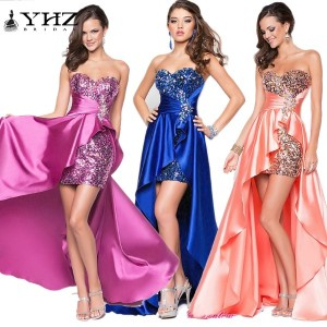 Elegant Sweetheart Hi-Lo Sequins Evening Dress Formal Dress