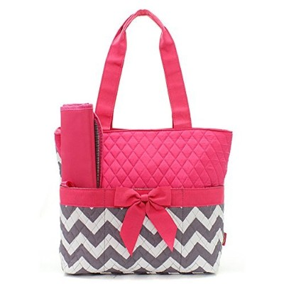 Quilted Hot Pink And Grey/White Chevron Print Monogrammable 3 Piece Diaper Bag With Changing Pad...
