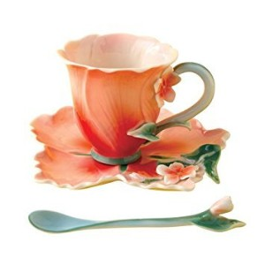 Two's Company Garden Party Hibiscus Tea Set Cup Saucer Spoon by Two's Company