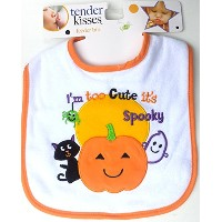 Tender Kisses Infant Embroidered Bib ~ I ' m Too Cute It 's Spooky