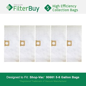 5–Shop - Vac 90661906–619066100バッグ。Designed by FilterBuy to ReplaceショップVac 5–8ガロン90661...