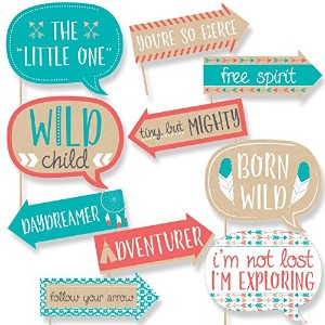 Funny Be Brave Little One – Boho Tribalベビーシャワーまたは誕生日パーティー写真ブース小道具キット – 10 Piece
