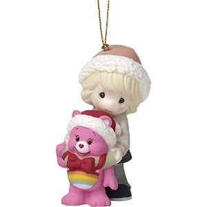 Precious Moments Surrounded byクリスマスCheer Care Bears Bisque Porcelain Ornament、3.5-inches、171052