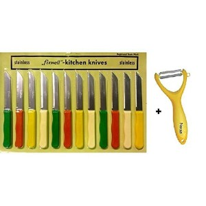 Buycrafty™ Fixwell 12-Piece Stainless Steel Knife with Free vegetable peeler, vegetable cutting,...