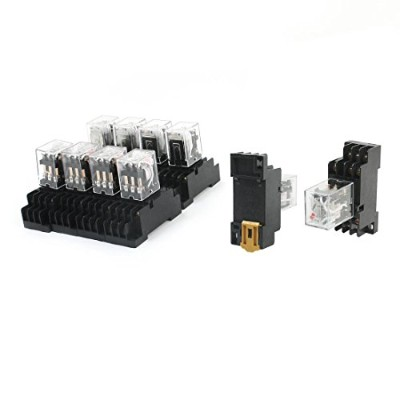 uxcell パワーコイルリレー AC380V コイル 3PDT 3NO 3NC 35mm DIN レール 10枚入り