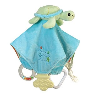 Stephan Baby Go Fish Plush Chewbie Activity Toy and Teething Blankie, Green Sea Turtle by Stephan Baby