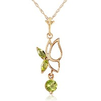 "K14 Yellow Gold 18"" Necklace with Peridot Butterfly Pendant"